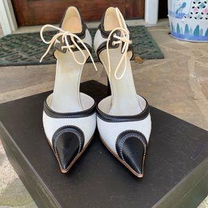 Gucci white/cream canvas & leather heels